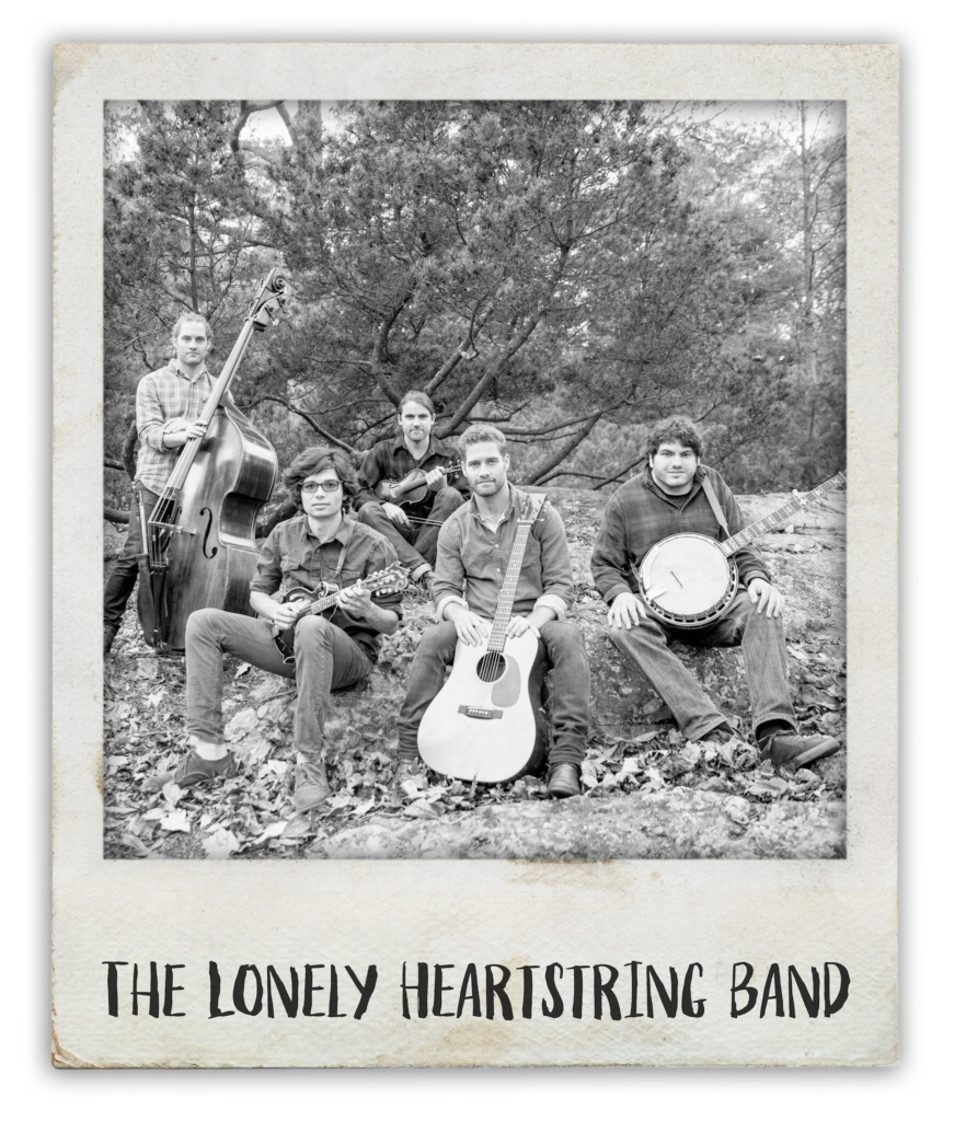 Four musicians, with guitar, banjo, bass and fiddle. They comprise the Lonely Heart Strings band.
