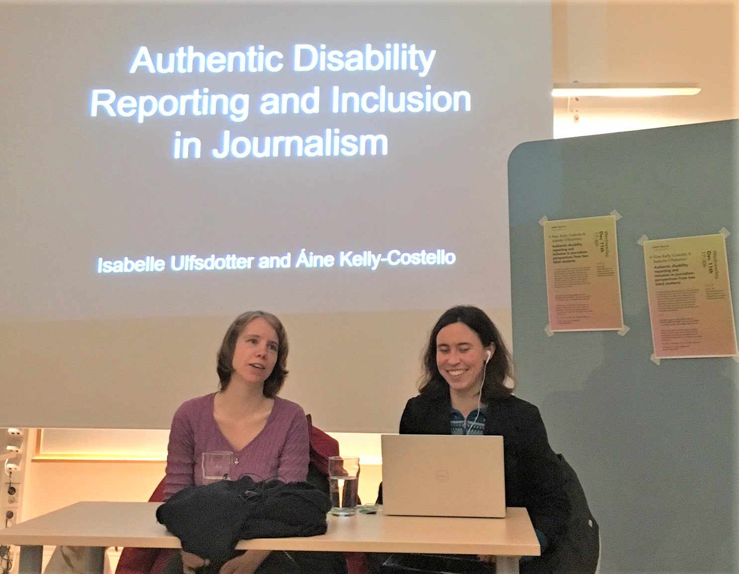 Isabelle and I sit in front of a powerpoint slide, entitled: Authentic Disability Reporting and Inclusion in Journalism