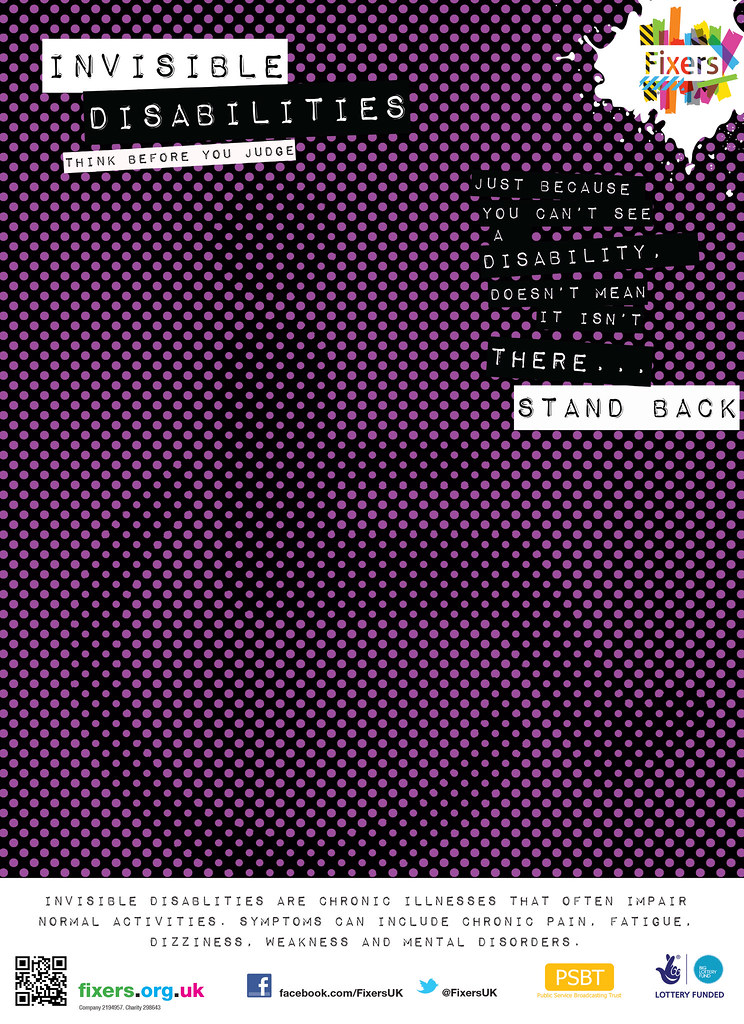 """A disability symbol on purple and black grain making it harder to see. Text reads: """"Invisible Disabilities -think before you judge. Just because you can't see a disability doesn't mean it isn't there. Stand back."""""""