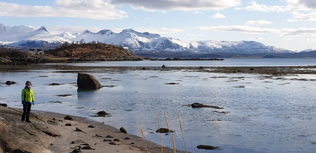 The water of Saltfjorden with snow covered mountains in the distance and a tiny Mum standing on the left on the rocky shore of a nearby beachfront